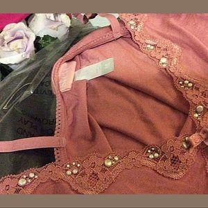 Rose Pearl Rhinestone Embellished Modal Camisole